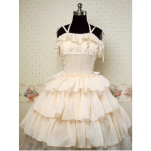 Chiffon Beige Sleeveless Cake Lolita Dress