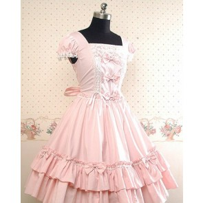 Light Pink Short Sleeves Ruffle Lolita Dress