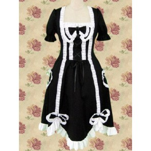 Black Short Sleeves Bow Lace Tie Gothic Lolita Dress With Ruffle