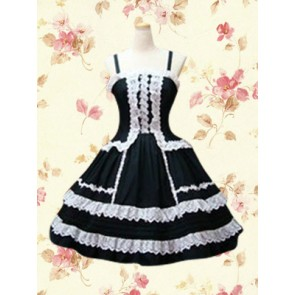 Black Sleeveless Spaghetti White Lace Gothic Lolita Dress