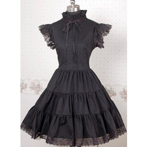 Black Short Sleeves Lace Punk Lolita Dress