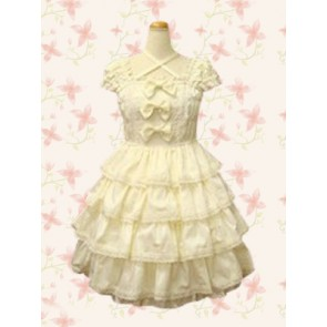 White Sleeveless Bow Lace Sweet Lolita Dress