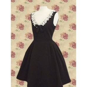 Black and White Sleeveless Lace Bow Sweet Lolita Dress