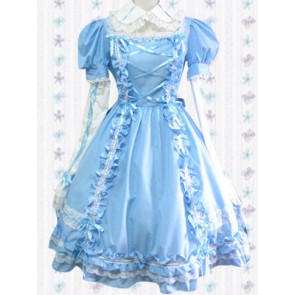 Blue Long Sleeves Sweet Pintuck Lace Sweet Lolita Dress