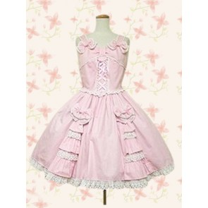 Cute Pink Sleeveless Bow Lace Lolita Dress