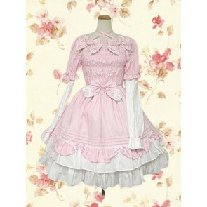 Pink Long Sleeves Bow Sweet Lolita Dress
