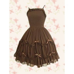 Chocolate Spaghetti Gothic Pintucked Lolita Dress