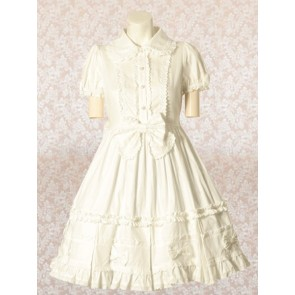 White Short Sleeves Bow Sweet Lolita Dress