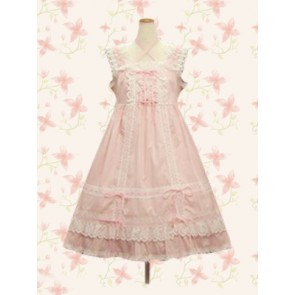 Pink Sleeveless Sweet Bow Lace Lolita Dress