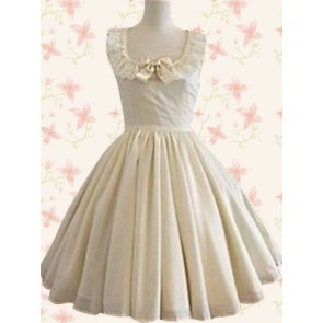 Jewel White Sleeveless Neck Lace Bow Sweet Lolita Dress