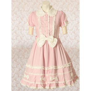 Pink Short Sleeves Bow Sweet Lolita Dress