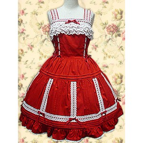 Red Sleeveless Lace Sweet Lolita Dress