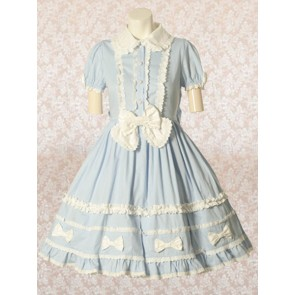 Light Blue Short Sleeves Round Collar Bow Sweet Lolita Dress