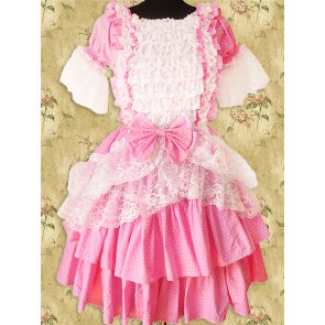 Pink And White Short Sleeves Lace Sweet Lolita Dress
