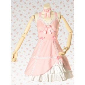 Pink Sleeveless V-Neck Lace Bow Punk Lolita Dress