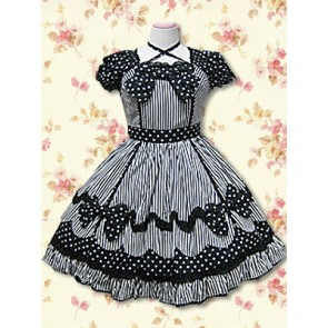 Black Short Sleeves Bow Sweet Lolita Dress