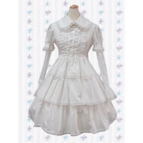 White Long Sleeves Cross-Strap Ruffles Sweet Lolita Dress