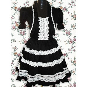 Black Short Sleeves Lace Sweet Lolita Dress