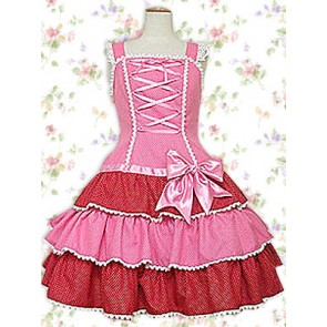 Pink Sleeveless Bow Bandage Ruffles Sweet Lolita Dress