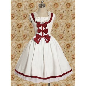 White and Red Sleeveless Bow Sweet Lolita Dress
