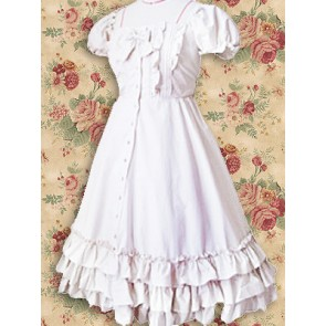 White Short Sleeves Ruffle Sweet Lolita Dress