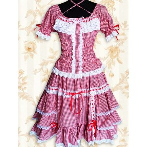 Red And White Gingham Puff Short Sleeves Lace Sweet Lolita Dress