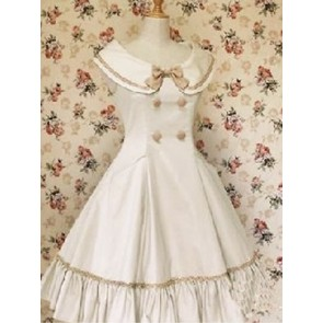 Sleeveless Pintuck Bow Double Breasted Classic Lolita Dress