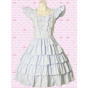 White Short Sleeves Multi Tiers Sweet Lolita Dress