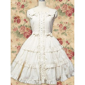 White Sleeveless Bow Ruffle Sweet Lolita Dress