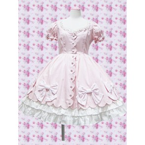 Pink Puff Sleeves Bow Sweet Lolita Dress