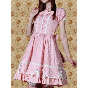 Pink and White Dot Short Sleeves Sweet Lolita Dress