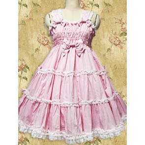 Pink Sleeveless Ruffle Sweet Lolita Jumper Skirt