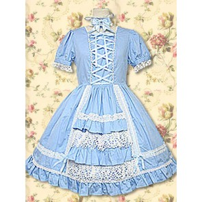 Blue Puff Short Sleeves Lace Ruffles Sweet Lolita Dress