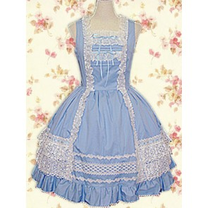 Blue and White Sleeveless Frills Sweet Lolita Dress