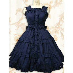 Deep Blue Sleeveless Ruffle Sweet Lolita Dress