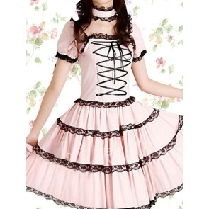Pink Short Sleeves Front Tie Sweet Lolita Dress