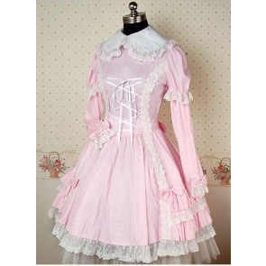 Pink and White Long Sleeves Round Collar Bow Lolita Dress