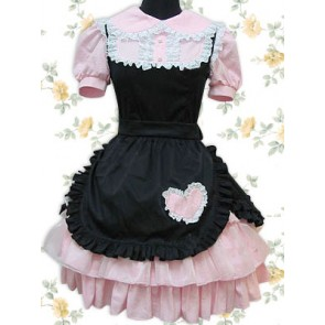 Pink And Black Short Sleeves Lace Ruffles Punk Lolita Dress