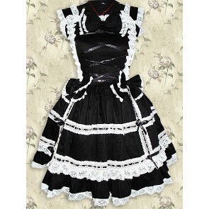 Black Sleeveless Lace Sweet Bow Lolita Dress