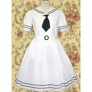 White Short Sleeves Tie School Lolita Dress