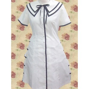 White Short Sleeves Single Breasted Button School Lolita Dress