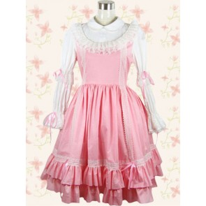 Pink and White Long Sleeves School Lolita Dress