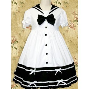 White and Black Short Sleeves Bow School Lolita Dress
