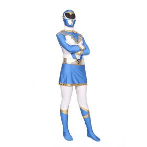 Light Blue And White Lycra Spandex Superhero Zentai Suit