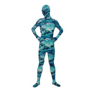 Light Blue Lycra Spandex Camouflage Unisex Zentai Suit