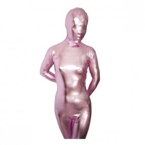Light Pink Shiny Metallic Unisex Zentai Suit