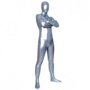 Light Silver Full Body Shiny Metallic Unisex Zentai Suit