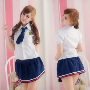 Lovely Blue Short Sleeves Girl School Uniform