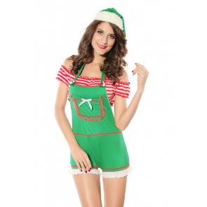 Lovely Polyester Stripe Girls Christmas Costume