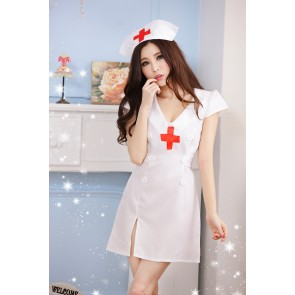Lovely Short Sleeves Button Adult Nurse Costume